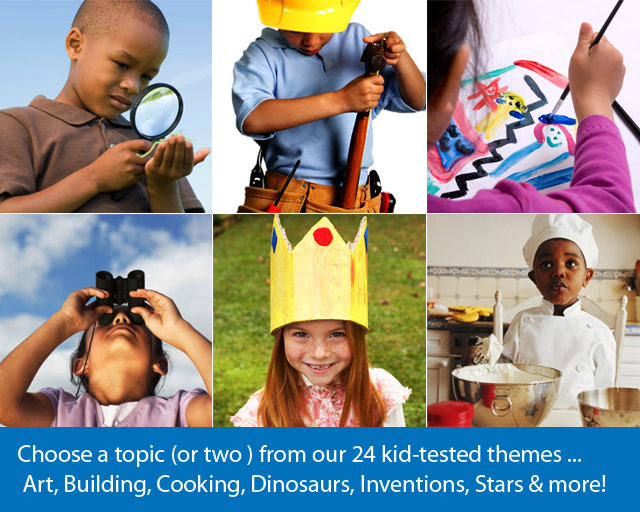 photos of six children doing different tasks, like painting, cooking, and using magnifying glass.