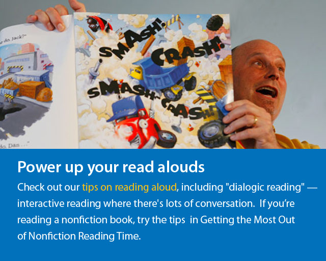 man readin book out loud and text says Power Up Your Read Alouds.