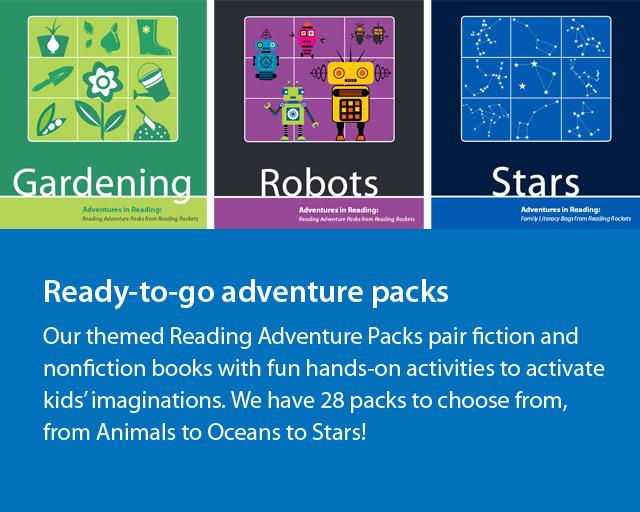Images of three adventure packs, gardening, robots, and stars
