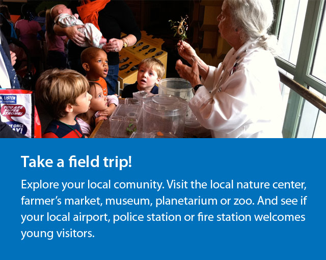 a group of kids looking up at a woman holding a bug. text says Take a field trip.