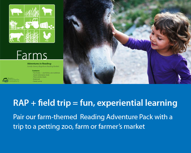 """a young child is petting the head of a donkey. There is an image of the adventure learning pack """"Farms""""."""
