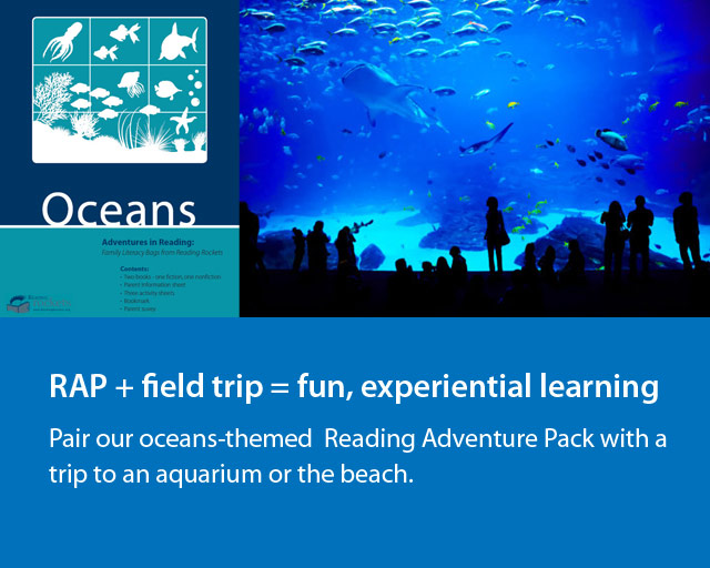 """people silhouetted against an aquarium next to image of """"Oceans"""" adventure pack."""
