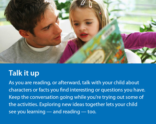 man and young girl reading together and text says Talk It Up.