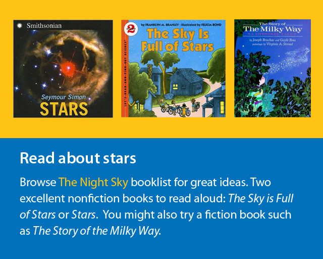 images of three books about stars.