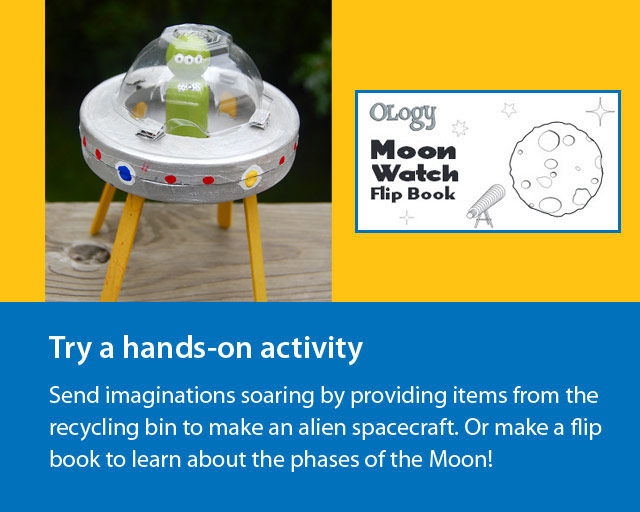 """photo of homemade spaceship and text reads """"Ology Moon Watch flip book""""."""