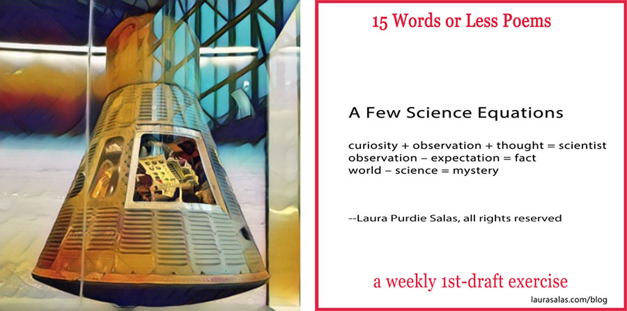 Author Laura Salas floating in the space module at the National Air & Space Museum and example of 15 Words or Less Poem