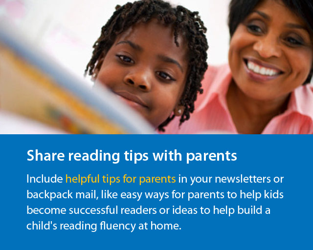 """woman and boy reading and text """"Share reading tips with parents""""."""