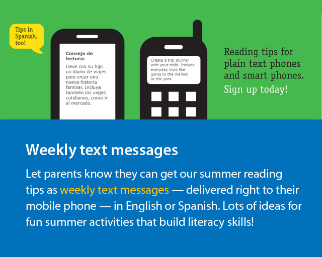 Summer reading tips for parents sent as text messages