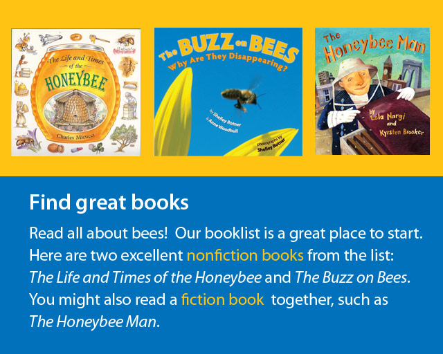 covers of three books about bees.