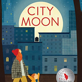 illustrated cover of City Moon showing a skyline with a large moon and an adult and child walking