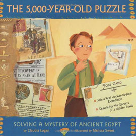 Cover of the 5000-year-old Puzzle showing a boy surrounded by postcards, newspapers, and pyramids.
