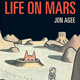 illustrated cover of Life on Mars showing a boy dressed as an astrounaut walking across the moon while a creature peeks out from a hole