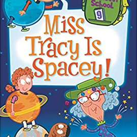 illustrated cover of Miss Tracy Is Spacey showing showing children dressed as plants and a grey-haired woman in a green hat