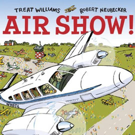 "cover of ""Air Show"" showing a plane flying and other planes on the ground below"