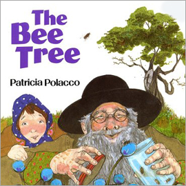 "cover of ""The Bee Tree"" showing young girl looking over man's shoulder. He has a jar of bees."