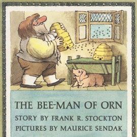 "cover of ""The Bee-Man of Orn"" showing a man moving beehives"