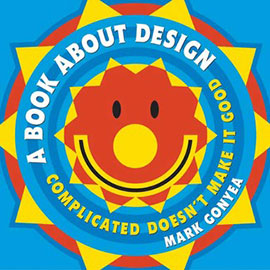 illustrated cover of A Book About Design showing a brightly colored red, blue, and yeloow sun with a smiling face