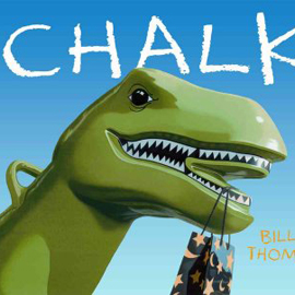 "cover of ""Chalk"" showing a large dinosaur head"