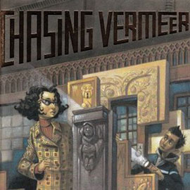 illustrated cover of Chasing Vermeer showing a boy holding a flashlight and a woman inside a museum.
