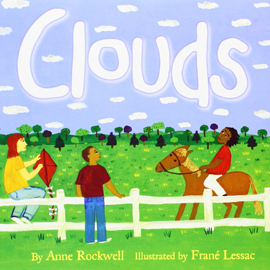 "illustrated cover of ""Clouds"" showing horseback riders under a cloudy blue sky"