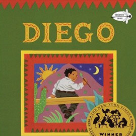 illustrated cover of Diego showing boy sitting on a blank holding a paintbrush. Before him is a mountain with a moon on one side, the sun on the other.