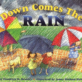 "cover of ""Down Comes the Rain"" showing people with umbrellas in the rain"