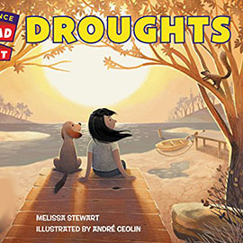 illustrated cover of Droughts showing a girl and a dog sitting at a receding lake.