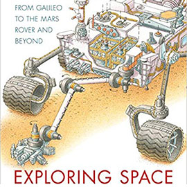 illustrated cover of Exploring Space showing a space rover.
