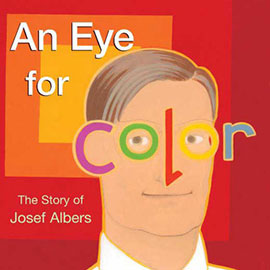 illustrated cover of An Eye for Color showing man and the letters of Color stand in for his ears, eyes, and nose.