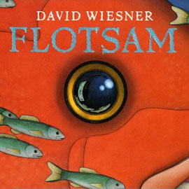 "cover of ""Flotsam"" showing a fish's eye"