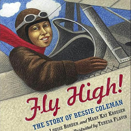 "cover of ""Fly High"" showing a pilot in a prop plane"
