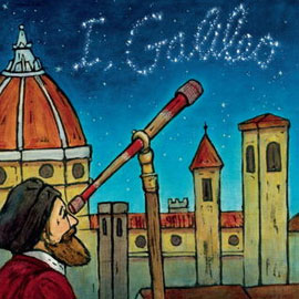 "cover of ""I, Galileo"" showing man looking through telescope"