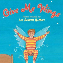 "cover of ""Give Me Wings"" showing a boy with his arms out and transparent wings"