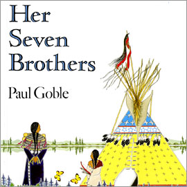"cover of ""Her Seven Brothers"" showing two people outside a teepee tent"