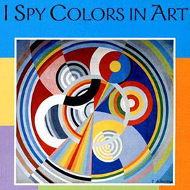 illustrated cover of I Spy Colors in Art showing a pattern of circles in many colors.