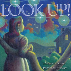 "illustrated cover of ""Look Up"" showing girl looking up at the night sky"