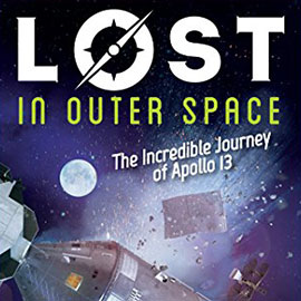 Illustrated cover of Lost In Outer Space showing spaceship and debris in space.