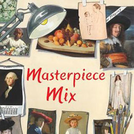 illustrated cover of Masterpiece Mix showing articulating lamp with clippings of famous art on wall behind it