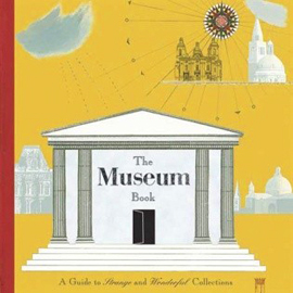 "illustrated cover of ""The Museum Book"" showing the front of a columned building"