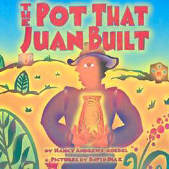 illustrated cover of The Pot That Juan Built showing man in the desert holding a glowing pot.