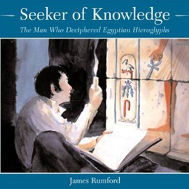 "cover of ""Seeker of Knowledge"" showing man looking at hieroglyphics"