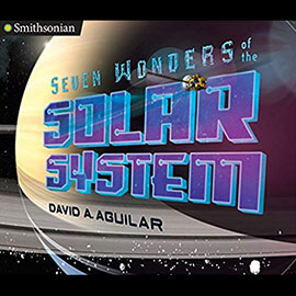Illustrated cover of Seven Wonders of the Solar System showing a profile of Saturn.