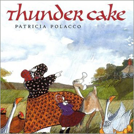 "cover of ""Thundercake"" showing woman and child in bonnets point at sky"