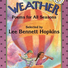 """cover of """"Weather: Poems for All Seasons"""" showing kids in a hot air balloon"""