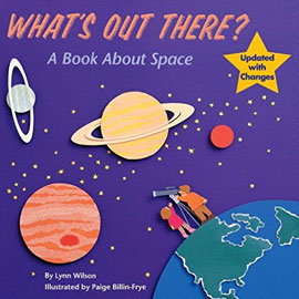 "illustrated cover of ""What's Out There"" showing planets and two people looking up from earth"