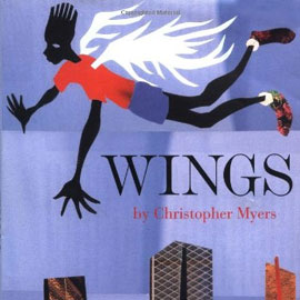 "cover of ""Wings"" showing boy flying with white wings"