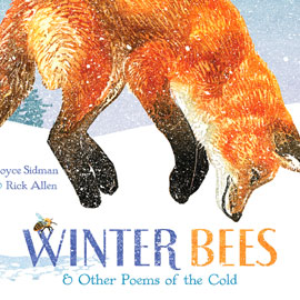 "cover of ""Winter Bees"" showing a bee and a fox jumping in the snow"