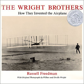 "cover  of ""The Wright Brothers"" showing photo of Wright brothers' plane"