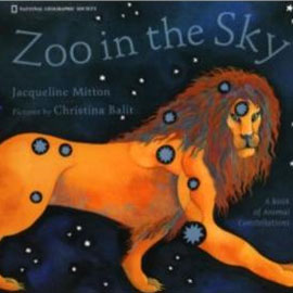 "cover of ""Zoo In the Sky"" showing a lion against the night sky"