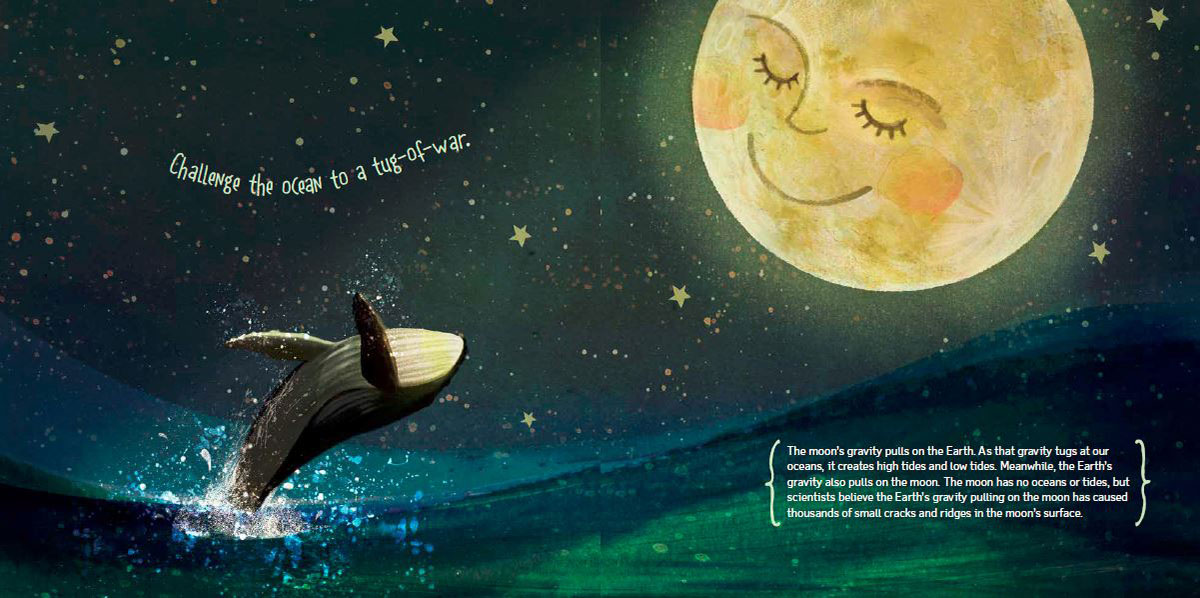 Illustrated page spread from If You Were the Moon